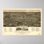1885 Thomasville, mapa panorámico de la opinión de Poster