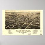 1885 Valdosta, mapa panorámico de la opinión de oj Posters