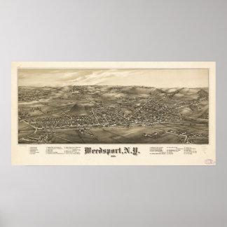 1885 Weedsport mapa panorámico de la opinión de o Impresiones