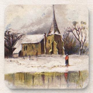 1886: A snowy Victorian winter scene Beverage Coaster