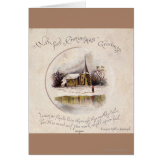 1886 A snowy Victorian winter scene Greeting Card