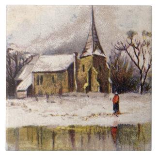 1886: A snowy Victorian winter scene Ceramic Tile