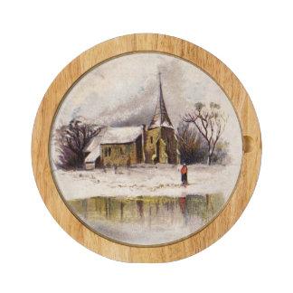 1886: A snowy Victorian winter scene Cheese Board
