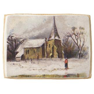 1886: A snowy Victorian winter scene Jumbo Shortbread Cookie