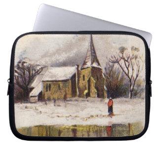 1886: A snowy Victorian winter scene Laptop Sleeves