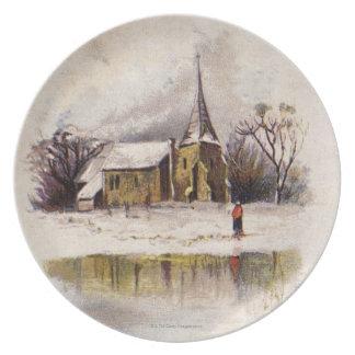 1886: A snowy Victorian winter scene Melamine Plate