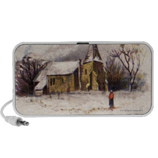 1886: A snowy Victorian winter scene Portable Speaker