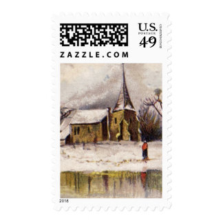 1886: A snowy Victorian winter scene Postage