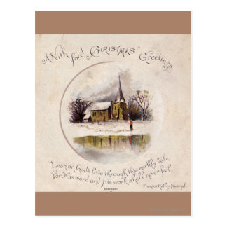 1886: A snowy Victorian winter scene Postcard