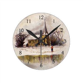 1886: A snowy Victorian winter scene Round Clock