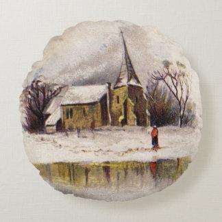 1886: A snowy Victorian winter scene Round Pillow