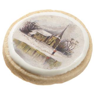 1886: A snowy Victorian winter scene Round Shortbread Cookie
