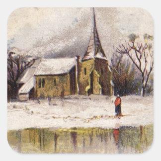 1886: A snowy Victorian winter scene Square Sticker