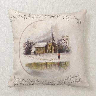 1886: A snowy Victorian winter scene Throw Pillow