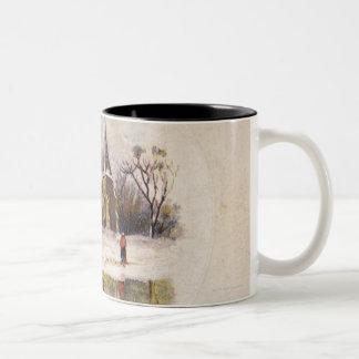 1886: A snowy Victorian winter scene Two-Tone Coffee Mug