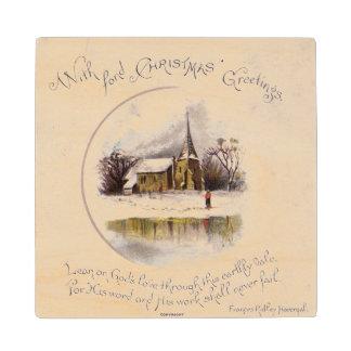 1886: A snowy Victorian winter scene Wooden Coaster