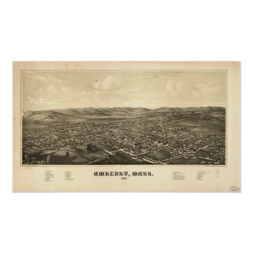 1886 Amherst, MA Birds Eye View Panoramic Map Poster