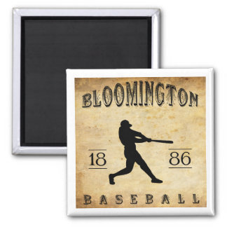 1886 Bloomington Illinois Baseball 2 Inch Square Magnet