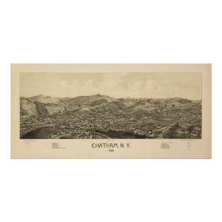 1886 Chatham, mapa panorámico de la opinión de ojo Póster