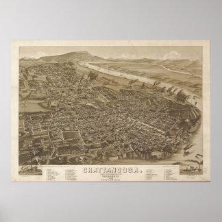 1886 Chattanooga, mapa panorámico de la opinión de Póster
