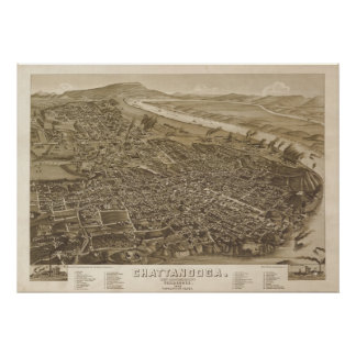 1886 Chattanooga, TN Birds Eye View Panoramic Map Poster