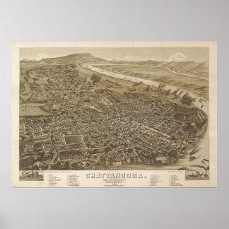 1886 Chattanooga, TN Birds Eye View Panoramic Map Poster