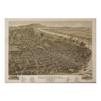 1886 Chattanooga, TN Birds Eye View Panoramic Map Posters