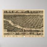 1886 Columbus, mapa panorámico de la opinión de oj Impresiones