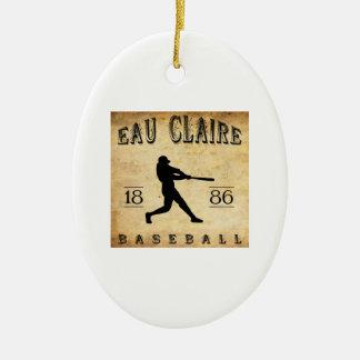 1886 Eau Claire Wisconsin Baseball Ceramic Ornament