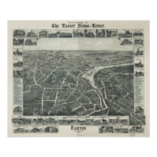 1886 Exeter, NH Birds Eye View Panoramic Map Print
