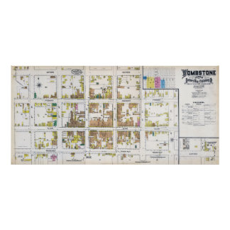 1886 FIRE INSURANCE MAP of TOMBSTONE ARIZONA Poster