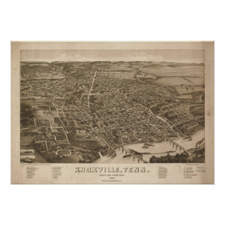 1886 Knoxville, TN Birds Eye View Panoramic Map Poster