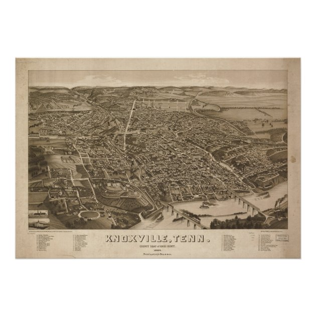 1886 Knoxville TN Birds Eye View Panoramic Map Poster Zazzlecom