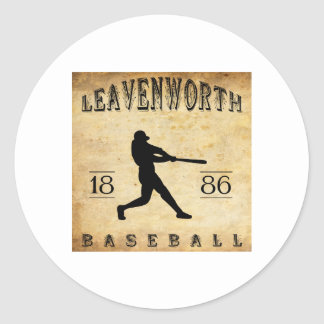 1886 Leavenworth Kansas Baseball Classic Round Sticker