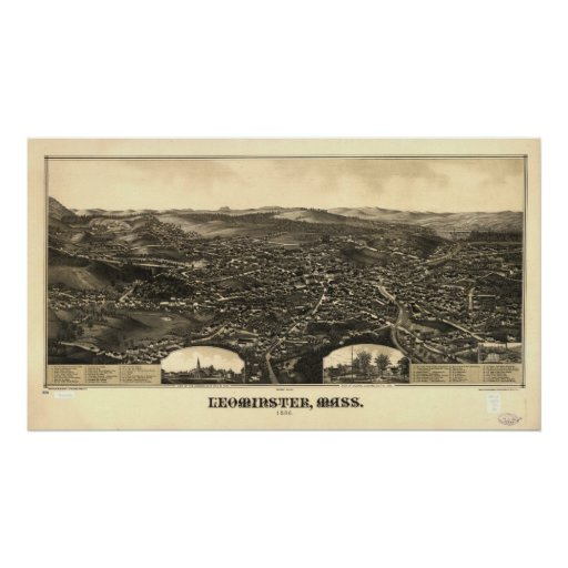 1886 Leominster, MA Birds Eye View Panoramic Map Poster