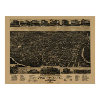 1886 Map of Fort Worth, TX Birds Eye View Poster