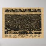1886 mapa de Fort Worth, opinión de ojo de pájaros Impresiones