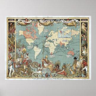 1886 mapa del mundo - Imperio británico Póster