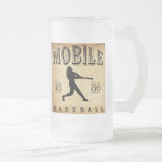 1886 Mobile Alabama Baseball Frosted Glass Beer Mug