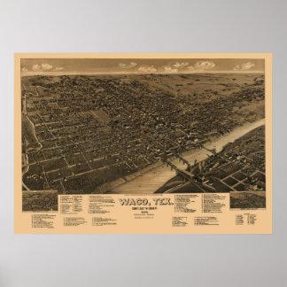 1886 Panoramic Map Birds Eye View of Waco TX Poster