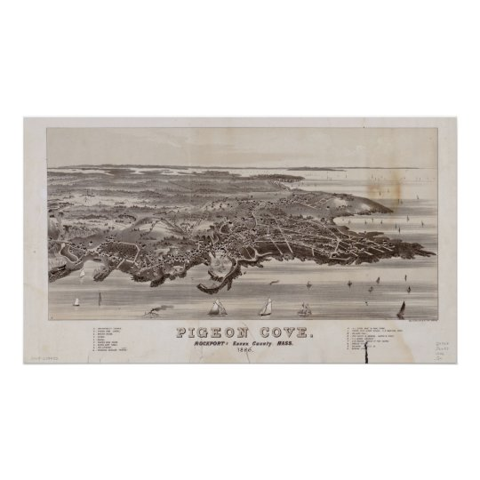 1886  Pigeon Cove, MA Birds Eye View Panoramic Map Poster