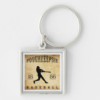 1886 Poughkeepsie New York Baseball Silver-Colored Square Keychain