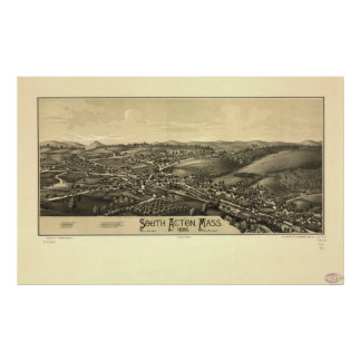 1886 South Acton, MA Birds Eye View Panoramic Map Poster
