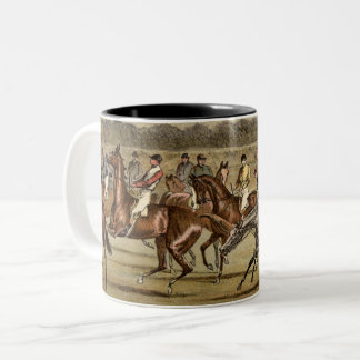 1886 Steeplechase Horse Racing Art Two-Tone Coffee Mug