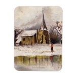 1886: Una escena nevosa del invierno del Victorian Imanes Rectangulares