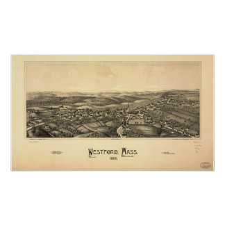 1886 Westford, MA Birds Eye View Panoramic Map Poster
