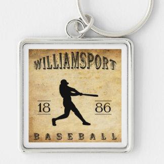 1886 Williamsport Pennsylvania Baseball Silver-Colored Square Keychain