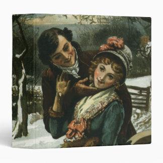 1887: A man tries to kiss a shy woman 3 Ring Binder