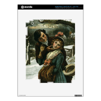 1887: A man tries to kiss a shy woman Decals For iPad 3