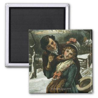 1887: A man tries to kiss a shy woman Magnet